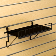 Solid Black Shelf with Lip for Grid- 12 in. W x 6.25 in. D