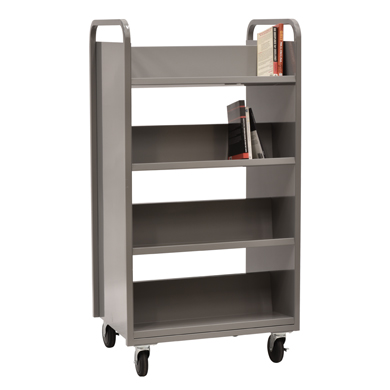 Heavy Duty 8 Shelf Double Sided Mobile Book Cart
