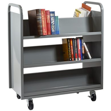 Double Sided Library Book Cart With 6 Slanted Shelves By S3 Brands