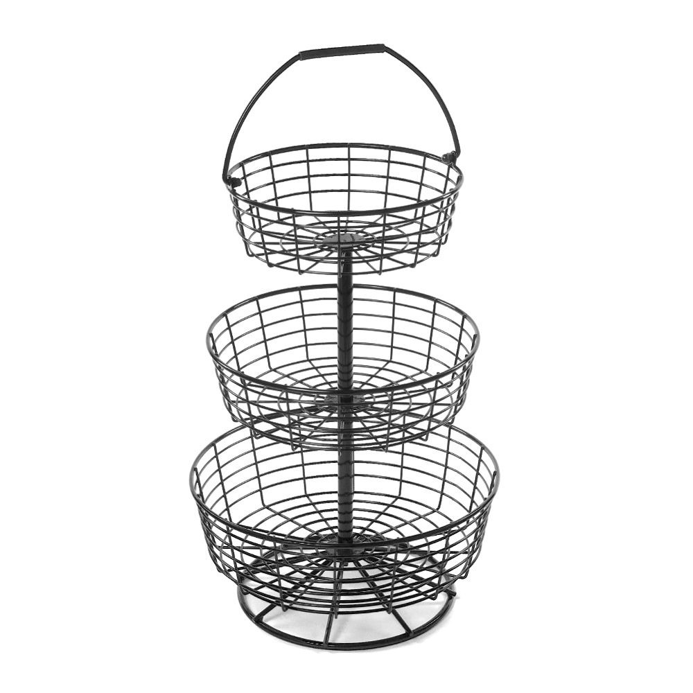 3 Tier Round Wire Basket Countertop Display
