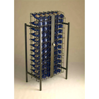 Locking 72 Bottle Wire Grid Wine Display Rack