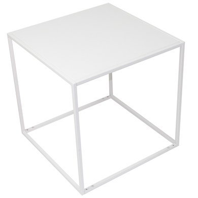 White Wood And Metal Cube Mannequin Pedestal Riser - 18 In. Square