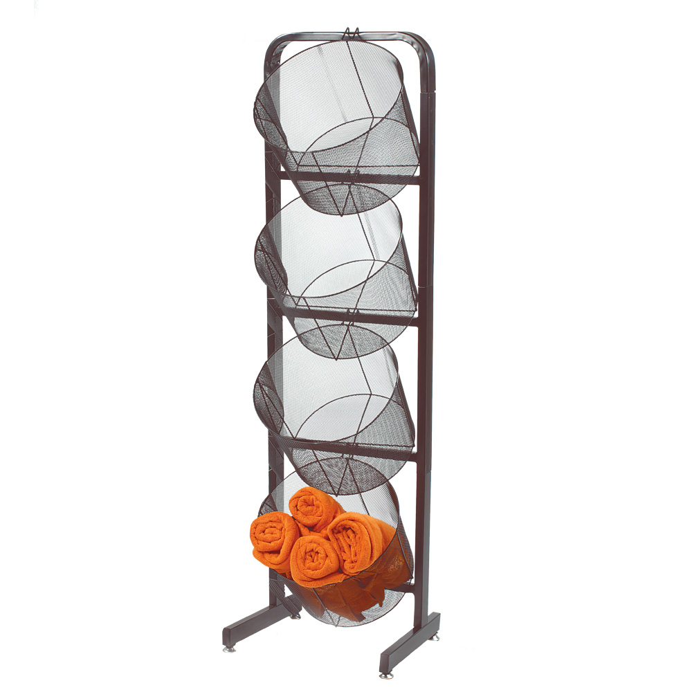 Single Wire Basket Display With Extra Large Mesh Baskets