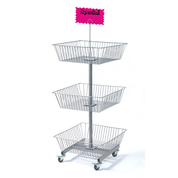 Mobile 3 Tier Square Wire Basket Rack