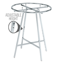 Round Clothing Rack - 42 in. Chrome Display with Height Adjustable Legs
