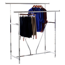 Deluxe Double Bar CLOTHING Rack with V Brace - Chrome