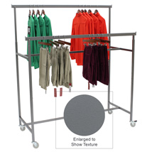 Boutique Double Rail Garment Rack with Casters - Adjustable Height Rails