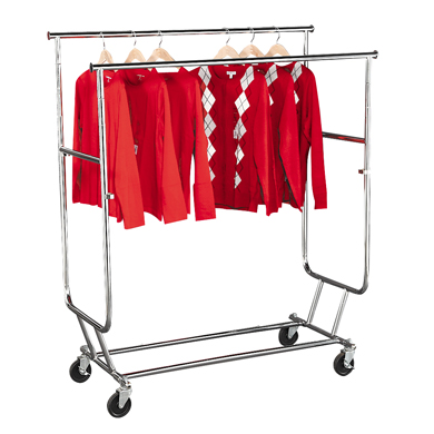 Double Rail Folding Clothing Rack - Collapsible Salesman