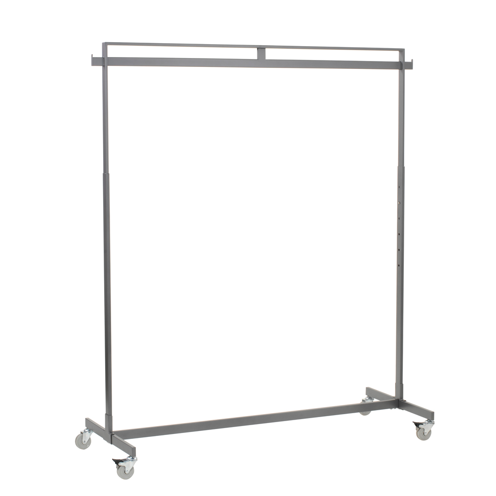 Single Rail Rectangular Hangrail Rack With Casters