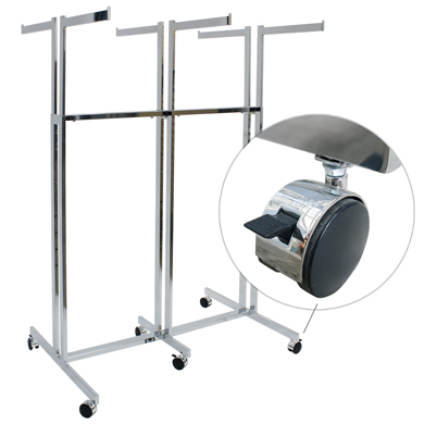 Chrome 6 Way Garment Rack with Casters