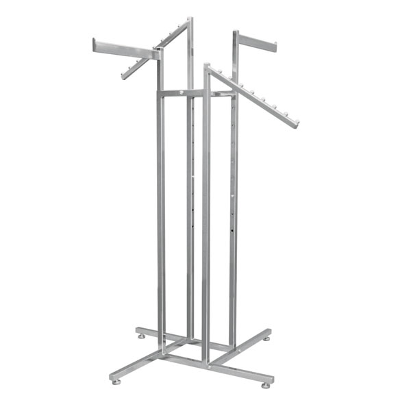 4 Way CLOTHING Rack with 2 Straight & 2 Slant Waterfall Arms