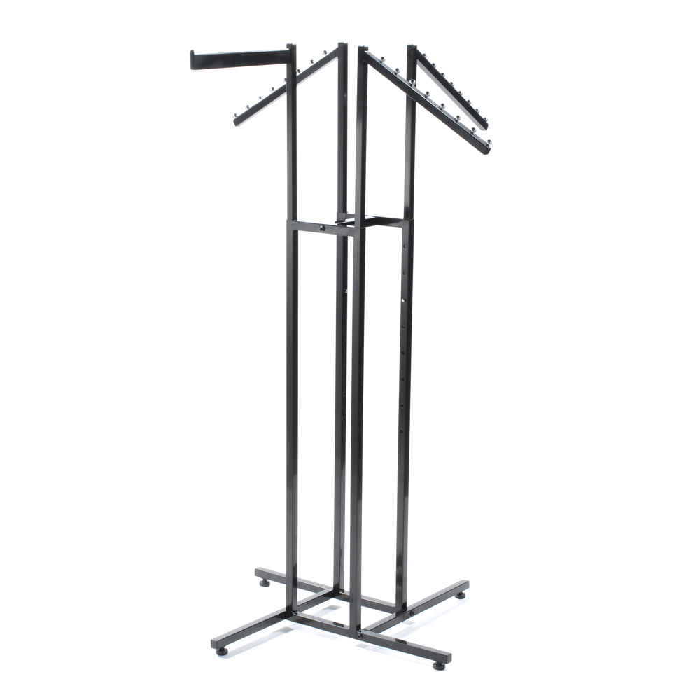 4 Way Apparel Rack With 1 Straight & 3 Slant