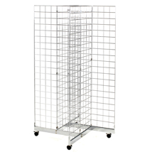 Chrome Grid Quad Merchandiser Display with Casters