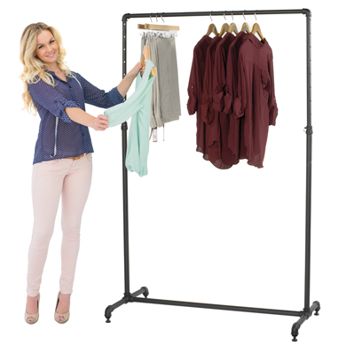 Pipe CLOTHING Rack - Adjustable Height Ballet Bar