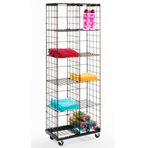 Black Wire Cube Display With Eight Adjustable Shelves & Casters