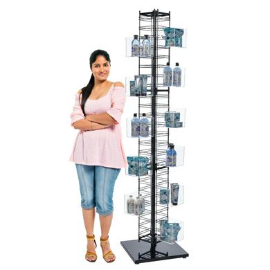 """Cap Rack Baseball Display Countertop Hat 36 Caps Tower 6-Tier 38/"""" Black"""