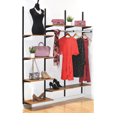 Black Standard Wall Shelving Unit Kit with 6 Olive Wood Shelves