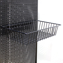 Black Pegboard Basket - 12 1/2 In. L  X 3 In. D X 8 In. W