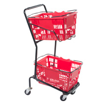 Double Hand Basket Shopping Cart - Black