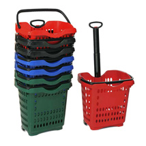 10 Plastic Rolling Shopping Baskets Set
