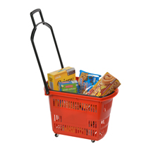 Red Plastic Rolling Shopping Basket