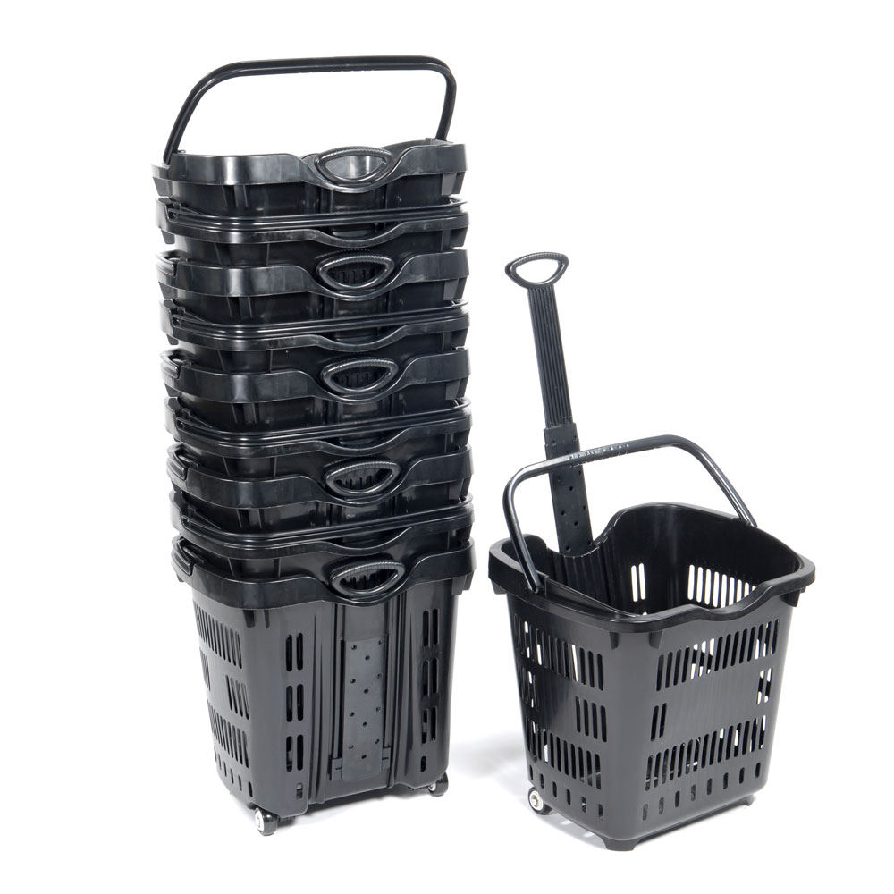 Rolling Plastic Shopping Basket Set of 10 - Black