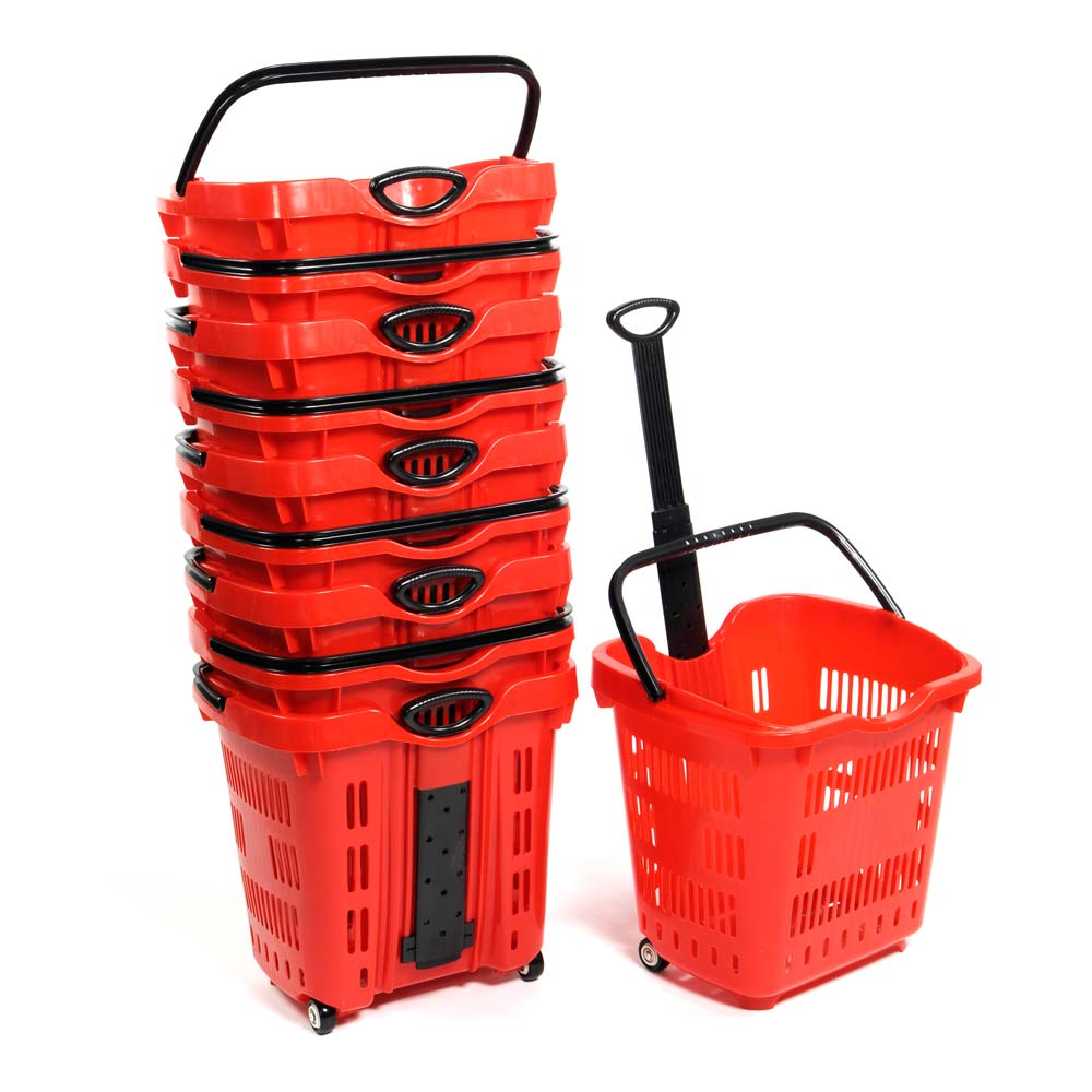 Red Plastic Rolling Shopping Baskets - 5 Per Set