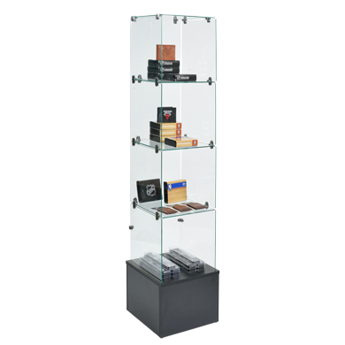 69 Inch Tall Glass Cube Tower Showcase