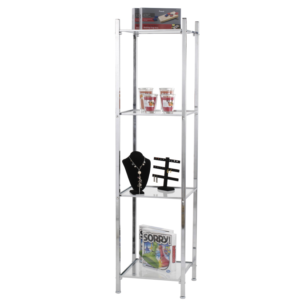 Chrome 4 Shelf Open Display Etagere Tower