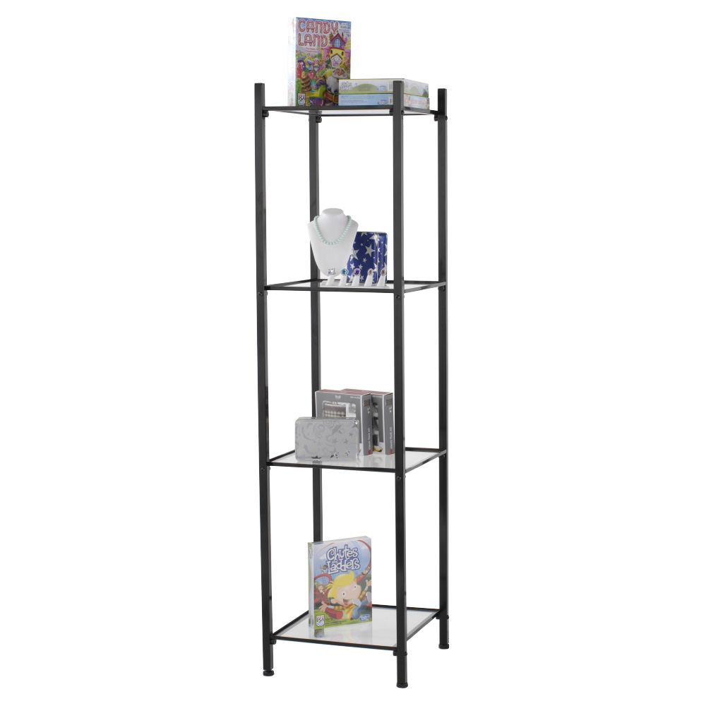 Black 4 Shelf Open Display Etagere Tower