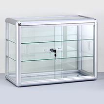 Locking Countertop Aluminum Framed Glass Showcase - Full Assembled