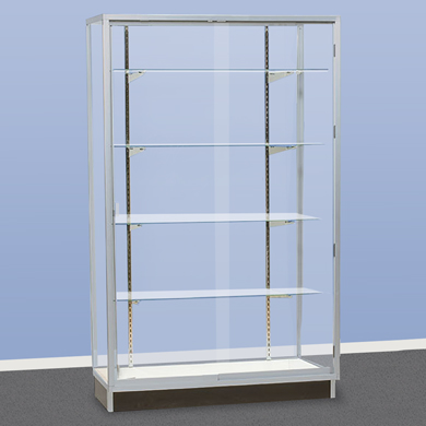 Assembled 48 in. Wide Metal Framed Wall Showcase with Glass Back