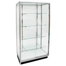 36 In. Wide Metal Framed Tower Showcase With Glass Back