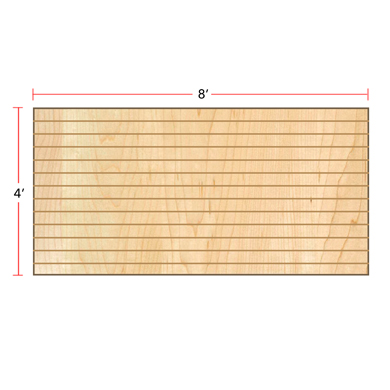 Maple Horizontal Slatwall Panels - 4' H x 8' W