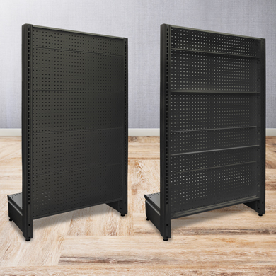 Black Matte Pegboard Back Panel Kit For 84 Inch Gondola End Cap