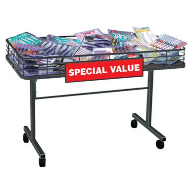4 ft. Black Mobile Merchandising Table