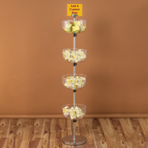 Four Tier Clear Plastic Bowl Floor Display