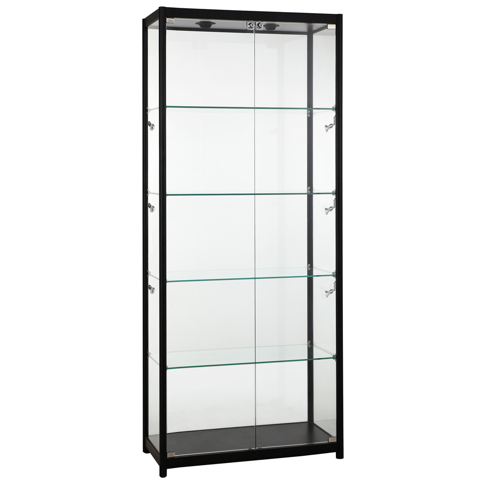 Full Vision Halogen Lit Showcase With Black Aluminum Frame - Assembled