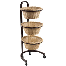 3 Tier Mobile Display with Round Wicker Baskets