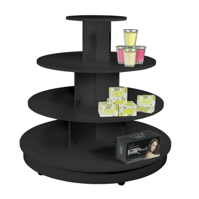 Black 4 Tier Round Wood Display Table with Casters - 45 in. H