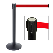 Black Crowd Control Stanchion with Retractable Red Belt