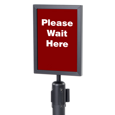 Black SIGN Holder for Crowd Control Stanchion