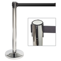 Chrome Crowd Control Stanchion with Retractable Black Belt