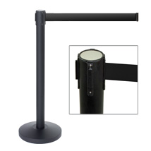 Black Crowd Control Stanchion with Retractable Black Belt
