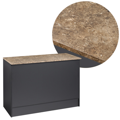 "Black 48"" Service Counter With Faux Marble Top"