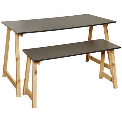 Urban Collection Gray Small Nesting Table On Pine Wood Legs