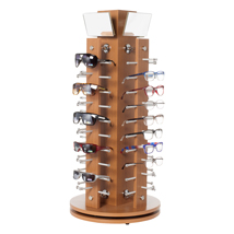 Cherry Wooden Countertop Eyewear Spinner Display - Holds 40 Pairs