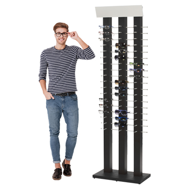 Black Wooden Floor Standing Eyewear Wall Display - Holds 54 Pairs