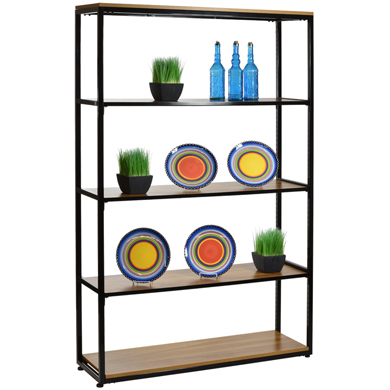 Black Wall Shelving Display With 5 Wood Shelves