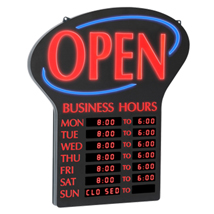 Open Sign With Digital Store Hours